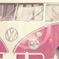 Pink VolksWagon Van Retro Vintage Fine Art by Pixabelle on Etsy, $15.00