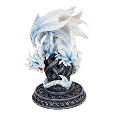 "Name: White Dragon   Size:9""H  Hand painted cold cast resin  Item Number: PT10011  Product Line: Pacific Trading  White Dragon"