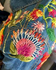 Embroidery Denim Ideas Stitching 31 Ideas For 2019 Denim Jacket Embroidery, Hand Embroidery Stitches, Embroidery Techniques, Floral Embroidery, Embroidery Patterns, Denim Ideas, Embroidered Clothes, Embroidery Fashion, Fabric Art