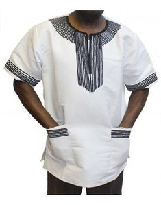 African Attire Embroidered Traditional Xhosa Shirt made with original Umbhaco fabric. Xhosa Attire, African Attire, African Wear, African Dress, African Clothes, African Print Fashion, African Fashion Dresses, African Design, Traditional Outfits