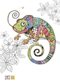 Cosmo Chameleon bug art greeting card Embossed with gold foil. Pintura Graffiti, Afrique Art, Motifs Animal, Bug Art, Animal Quilts, Happy Paintings, Applique Quilts, Art Plastique, Fabric Art