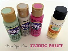Great tips for making any color paint into fabric paint!
