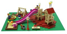 "Built by Klementina Kos and myself for city diorama on our club ""Kockice"" exhibition in Varazdin, Croatia Legos, Lego Challenge, Lego Building Blocks, Custom Lego, Cool Lego, Lego Creations, Lego City, Playground, Lego Stuff"