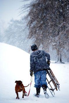 Boy sleddin' with his best friend. #Winter #Puppy