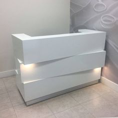 This Miami Reception Desk With Built-in LED is just one of the custom, handmade pieces you'll find in our office & desk storage shops. Modern Reception Desk, Reception Desk Design, Reception Counter, Office Reception, Salon Reception Desk, Lobby Reception, Boutique Interior, Salon Interior Design, Dental Office Design