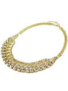 Collar cadena dorado diamante de imitación