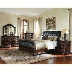 Picket House Furnishings Conley Cherry Queen Sleigh Bed (Caspian QN Sleigh  Bed), Brown | Cherry Finish