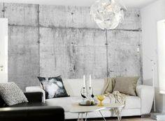 Tom Haga -concrete-wallpaper-white-couch  http://designlykke.com/