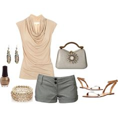 """""""peach and gray"""" by lisamichele-cdxci on Polyvore"""