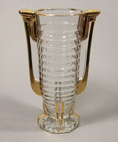 Val Saint Lambert Luxval Art Deco Glass Vase 'Marcelle'.
