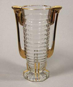 Val Saint Lambert Luxval Art Deco Glass Vase 'Marcelle'.