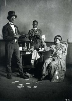 "Black magician and his assistants. From the book ""A True Likeness: The Black South of Richard Samuel Roberts 1920-1936."" Credit: South Carolina ETV."