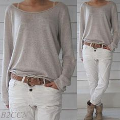 8.03AUD - Womens Casual Shirt O-Neck Long Sleeve Cotton Jumper Loose Pullover Tops Blouse #ebay #Fashion