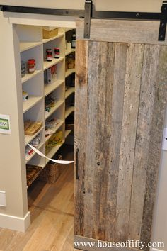 House of Fifty - kitchens - walk-in pantry pantry sliding barn door rustic barn door reclaimed barn door pantry shelves pantry shelvin. - July 27 2019 at Sliding Pantry Doors, Barn Door Pantry, Wood Barn Door, Barn Door Closet, Diy Barn Door, Sliding Barn Door Hardware, Wood Doors, Farm Door, Interior Barn Doors