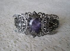 Amethyst Triple Moon Goddess Cuff Bracelet, wiccan jewelry pagan jewelry wicca jewelry witch celtic druid new age witchcraft mystic magic on Etsy, $30.00