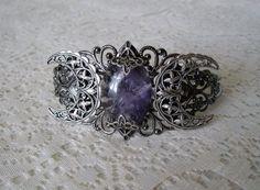 Amethyst Triple Moon Goddess Cuff Bracelet, wiccan jewelry pagan jewelry wicca jewelry witch celtic druid new age witchcraft mystic magic on Etsy, $30.00