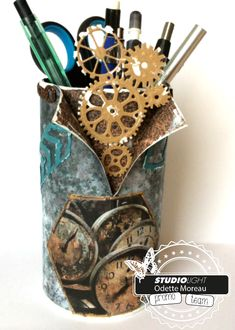 Odette's kaartenhoekje Pringles Can, Decoupage, Canning, Jars, Recycled Tin Cans, Manualidades, Home Canning, Conservation