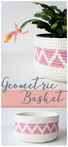 Geometric crochet basket pattern #crochetbasket Affiliate Link