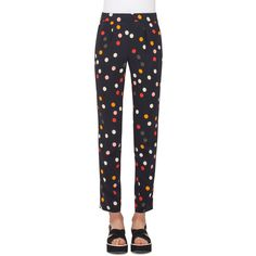 Akris Punto Polka-Dot Pleated Slim-Leg Ankle Pants (£565) ❤ liked on Polyvore featuring pants, capris, multi pattern, high waisted trousers, ankle crop jeans, high-waisted pants, ankle jeans and high rise pants
