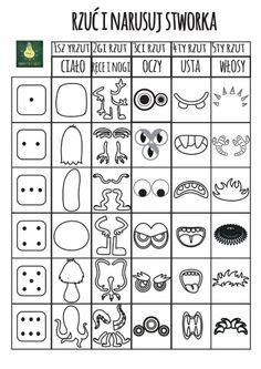 Roll a dice game – Kunstunterricht Art Games For Kids, Drawing Games For Kids, Art Science Fiction, Monster Drawing, Art Worksheets, Dice Games, Art Classroom, Elementary Art, Teaching Art
