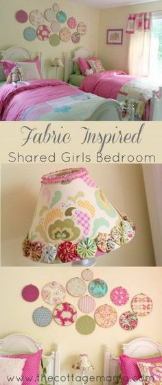 Bright, Colorful, Happy Shared Girls Room. Decorating and Interior Design from The Cottage Mama.