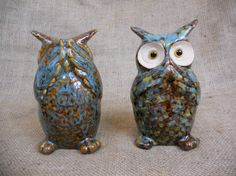Set of vintage ceramic hand painted owls by NorthwestLots on Etsy
