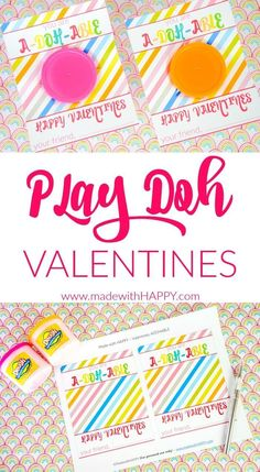 Play Doh Valentines Printable with brigh colored play doh.  Looking for non candy valentines, we have your little ones covered with these super cute play doh valentines.  Play Doh Valentines Printables for the kids to hand out instead of candy valentines.