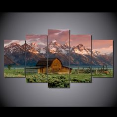Style Your Home Today With This Amazing 5 Panel Barn Rocky Mountains Landscape Framed Wall Canvas Art For $99.00 Discover more canvas selection here http://www.octotreasures.com If you want to create a customized canvas by printing your own pictures or photos, please contact us.