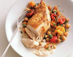 Roast Chicken Breasts with Garbanzo Beans, Tomatoes, and Paprika http://www.epicurious.com/recipes/food/views/Roast-Chicken-Breasts-with-Garbanzo-Beans-Tomatoes-and-Paprika-242113#ixzz2fq3uOale