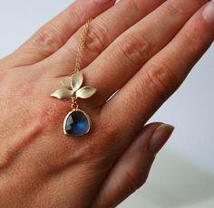 Cobalt Blue Gold Jewel Necklace   Gold Framed by lilabelledesign, $28.00
