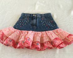 Your place to buy and sell all things handmade-- Ruffled Girl's Skirt, Repurposed Gymboree Denim Jeans, Coral Ruffled Skirt, 3 Tiered Skirt Little Girl Skirts, Little Girl Dresses, Girls Dresses, Girls Denim Dress, Vestidos Country, Denim Jeans, Skirt Mini, Kids Frocks, Denim And Lace