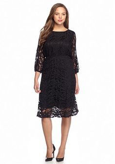 99e63fd083c New Directions® Plus Size Three-Quarter Sleeve Lace Dress