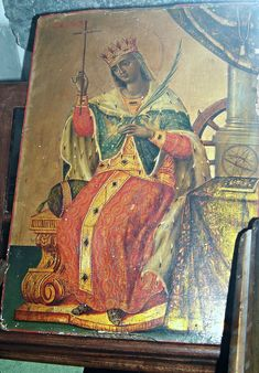"""Saint Catherine from Alexandria - Greek icon century - """"Greeks in Campania: 500 years of History"""" - Exhibition at State Archives of Naples, until September 2015 Byzantine Icons, Byzantine Art, Greek Icons, Roman History, Orthodox Icons, Alexandria, 18th Century, Saints, Naples"""