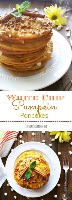 The perfect pumpkin pancake with white chocolate chips in the mix...so delicious!