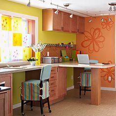 orange home office/craft room! Space Crafts, Home Crafts, Craft Space, Craft Desk, Family Crafts, Basement Craft Rooms, Basement Office, Warm Color Schemes, Orange