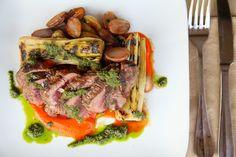 Grilled Hanger Steak, Roasted Potatoes, Braised Leeks, Piquillo Pepper Purée, Salsa Verde