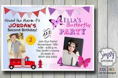 29 best duo birthday invitations images on pinterest combined firetruck butterfly joint birthday invitation by simplyprintable 1400 filmwisefo