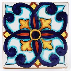 This ceramic wall and floor tile is entirely hand painted by Francesca Niccacci, an internationally renowned artist from Deruta. Her intricate geometric designs are a unique blend of sophisticated classic patterns and perfectly shaded colors. Geometric Tiles, Geometric Designs, Painting Tile Floors, Italian Tiles, Tuile, Tile Crafts, Italian Pottery, Handmade Tiles, Wall And Floor Tiles