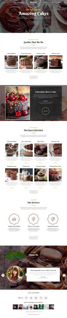 Invisio cakes is a wonderful responsive #WordPress theme for #bakeries, ice cream shops, #restaurants, yogurt and #cake designers websites download now➩ https://themeforest.net/item/invisio-cakes-sweet-bakery-wordpress-theme/18377487?ref=Datasata