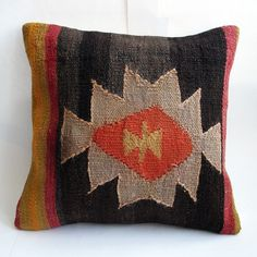 Hand Embroidered-Turkish Antique Kilim Pillow Cover