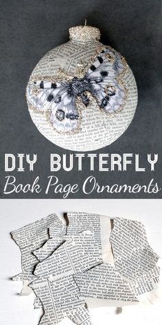 Декорирование елочных шаров обрывками книжных страниц и бабочками (14) (350x700…