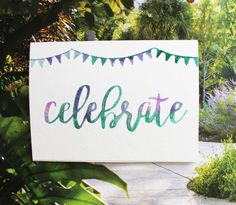 Celebrate Watercolor Blank Notecard 5 x 7 by PostmarkMiami on Etsy