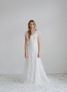 Hummingbird - Lace flutter sleeve dress - Style #TH2116 (2014 myra, bridal attire, dresses, gowns, myra callan bridal, view all)   Dresses   Twigs & Honey ®, LLC