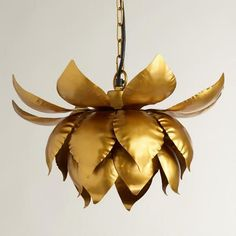 Gold Lotus Hanging Pendant Lamp from Cost Plus World Market's New Woodland Retreat Collection >> #WorldMarket Home Decor Ideas