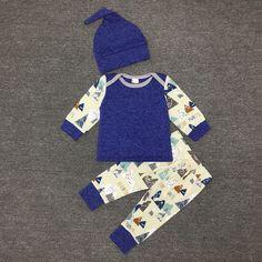 $8.40 (Buy here: https://alitems.com/g/1e8d114494ebda23ff8b16525dc3e8/?i=5&ulp=https%3A%2F%2Fwww.aliexpress.com%2Fitem%2FBrand-Romper-Set-Fashion-blue-colors-Cartoon-Roupa-De-Bebe-Bodysuit-Hat-Pant-3pcs-Baby-Boy%2F32788724873.html ) Brand Romper Set Fashion blue colors Cartoon Roupa De Bebe Bodysuit+Hat+Pant 3pcs Baby Boy Clothing Set Newborn Baby Clothes for just $8.40