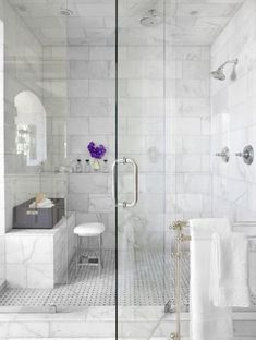 Carrara marble showe