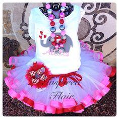 Personalized Animal Lovers Valentine Elephant Shirt with name and Premium Pettiskirt Tutu, Bubble Necklace, & OTT bow on Etsy, $95.00