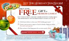 Limited time offer! Enjoy 1 FREE month to play hundreds of premium Club Pogo Online Games! Repin and share with friends!