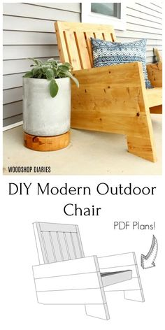 easy home decor Building plans and tutorial for how to build your own DIY modern outdoor chair for your porch or patio. Easy DIY weekend project using construction lumber! Modern Outdoor Chairs, Outdoor Furniture Plans, Diy Furniture Plans Wood Projects, Diy Outdoor Wood Projects, Homemade Outdoor Furniture, Rustic Furniture, Antique Furniture, Furniture Ideas, Porch Chairs