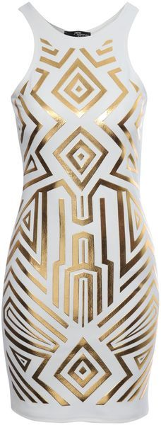 Geometric Foil Print Bodycon Dress - Lyst